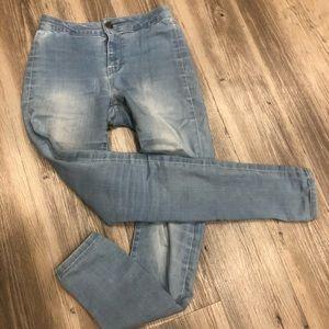 high rise light wash decree jeans size 0